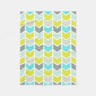 Aqua Blue Yellow Gray Geometric Chevron Pattern Fleece Blanket
