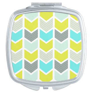 Aqua Blue Yellow Gray Geometric Chevron Pattern Vanity Mirrors
