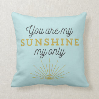 Aqua Blue You Are My Sunshine Retro Cushion
