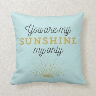 Aqua Blue You Are My Sunshine Retro Throw Pillow