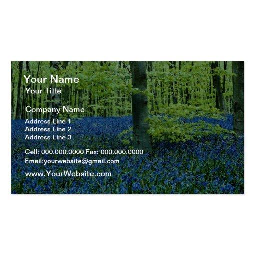Aqua Bluebell Woods flowers Business Card Template