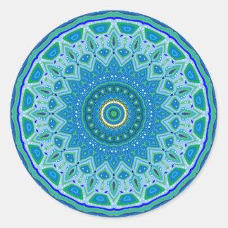 Aqua Blues Mandala Classic Round Sticker