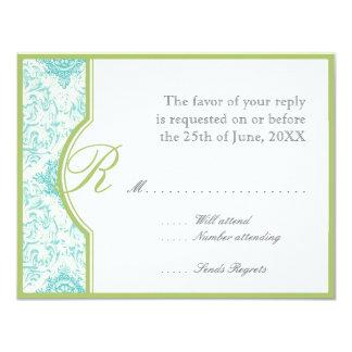 Aqua BlueToile  Quatrefoil RSVP Responce Cards 11 Cm X 14 Cm Invitation Card