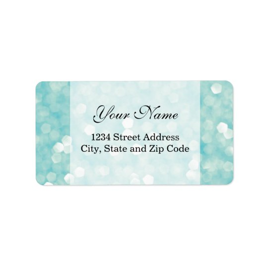 Aqua Bokeh Glitter Sparkles Address Label