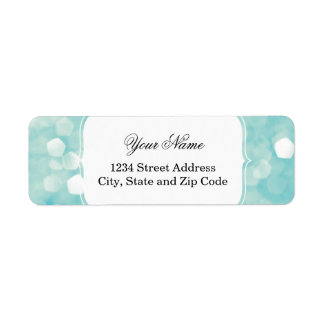 Aqua Bokeh Glitter Sparkles Return Address Label