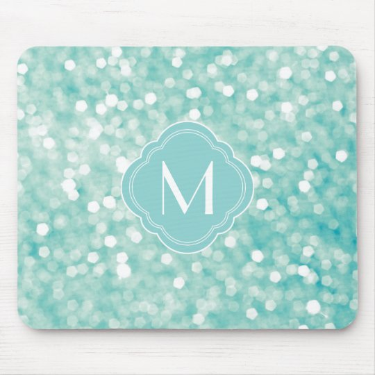 Aqua Bokeh Lights Glitter Sparkles and Monogram Mouse