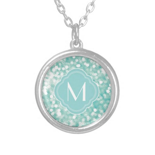 Aqua Bokeh Lights Glitter Sparkles and Monogram Necklace