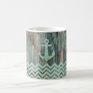 Aqua Bokeh Nautical Anchor on Wood Coffee Mug