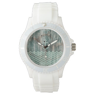 Aqua Bokeh Nautical Anchor on Wood Watch