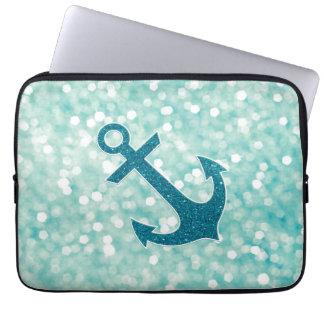 Aqua Bokeh Nautical Glitter Anchor Laptop Sleeve