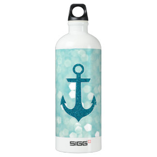 Aqua Bokeh Nautical Glitter Anchor SIGG Traveller 1.0L Water Bottle