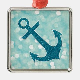 Aqua Bokeh Nautical Glitter Anchor Silver-Colored Square Decoration