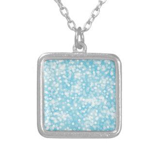 Aqua Bokeh Square Pendant Necklace