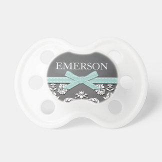 AQUA BOW LACE VINTAGE CHALKBOARD BABY PACIFIERS