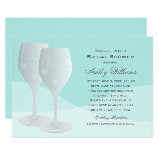 Aqua Bridal Shower | Cheers Wine Glasses Card