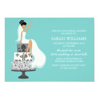 Aqua Bride on Wedding Cake 13 Cm X 18 Cm Invitation Card