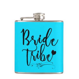 Aqua Bride Tribe Bachelorette Wedding Vinyl Flask