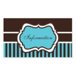 Aqua, Brown, and White Damask Enclosure Card Pack Of Standard Business Cards