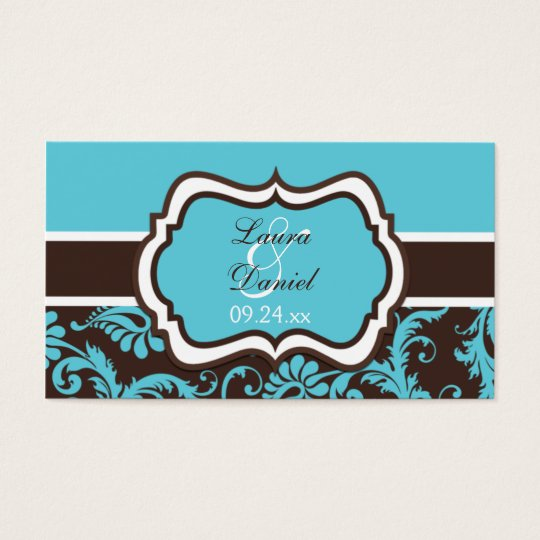 Aqua, Brown, and White Damask Wedding Favour Tag