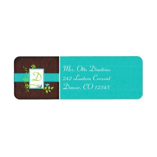 Aqua, Brown, White, Green Monogram Address Label