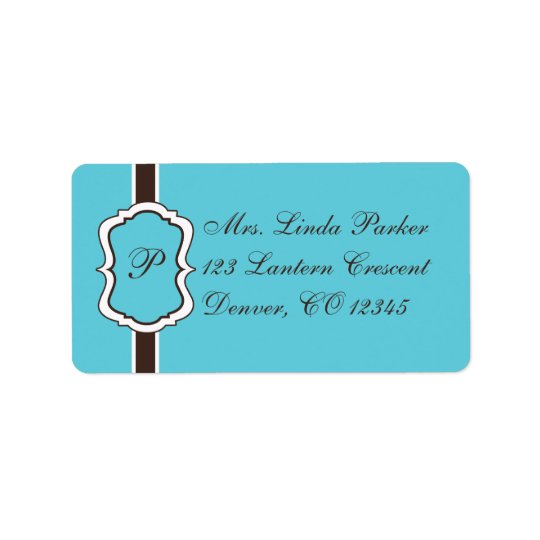 Aqua, Brown, White Monogrammed Address Label