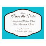 Aqua Brown & White Wedding Save the Dates Personalized Invitation