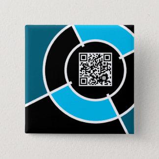 aqua bullseye QR code 15 Cm Square Badge