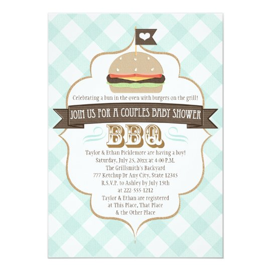 Aqua Burger Couples BBQ Baby Shower Invitations