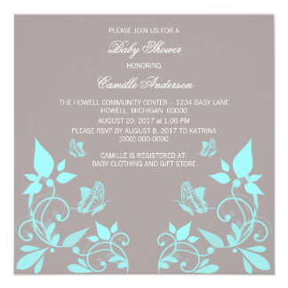 Aqua Butterfly Floral Baby Shower Invite