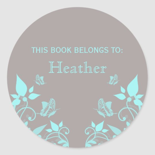 Aqua Butterfly Floral Bookplate Stickers