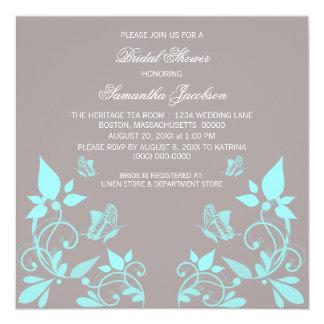 """Aqua Butterfly Floral Bridal Shower Invite 5.25"""" Square Invitation Card"""