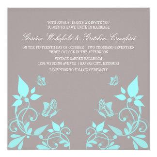 Aqua Butterfly Floral Wedding Invite