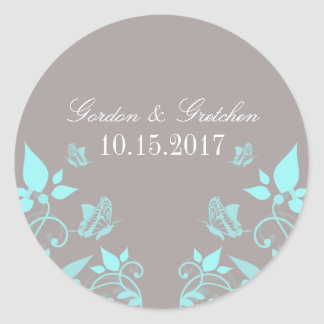 Aqua Butterfly Floral Wedding Stickers