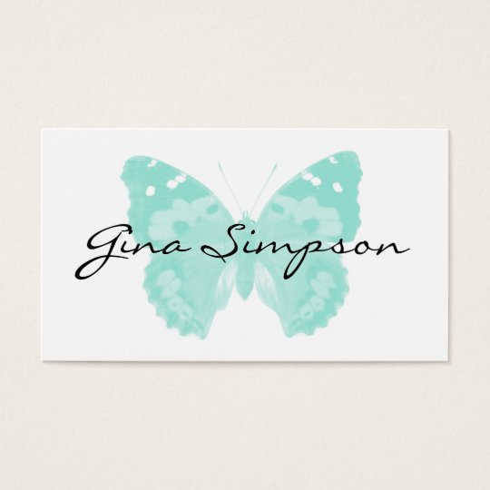 Aqua Butterfly Personalised Business Cards