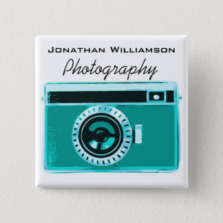 Aqua Camera Photography Business 15 Cm Square Badge