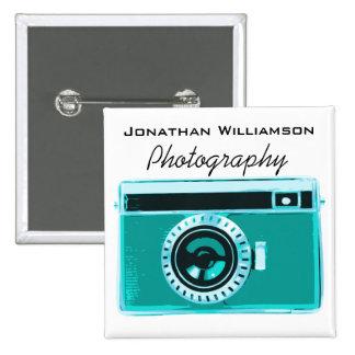 Aqua Camera Photography Business 15 Cm Square Badge