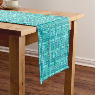 Aqua ceramic tiles look pattern short table runner