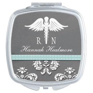 Aqua Chalkboard Registered Nurse RN Caduceus Vanity Mirrors