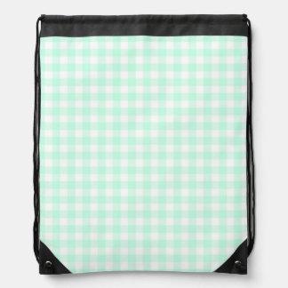 Aqua Check drawstring backpack