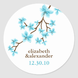 Aqua Cherry Blossoms Classic Round Sticker