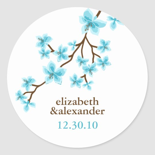 Aqua Cherry Blossoms Classic Round Sticker