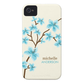 Aqua Cherry Blossoms Tree Case-Mate iPhone 4 Case