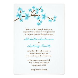 Aqua Cherry Blossoms Wedding Card