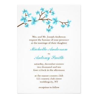 Aqua Cherry Blossoms Wedding Custom Invitations