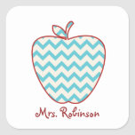 Aqua Chevron Apple Teacher