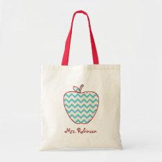 Aqua Chevron Apple Teacher Bag at Zazzle