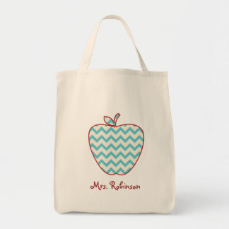 Aqua Chevron Apple Teacher Bag