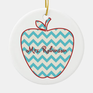 Aqua Chevron Apple Teacher Christmas Ornament
