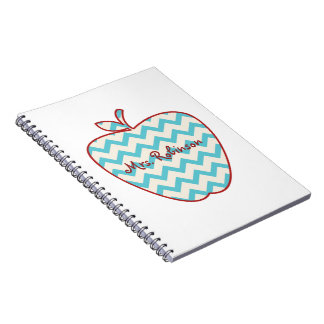 Aqua Chevron Apple Teacher Notebook