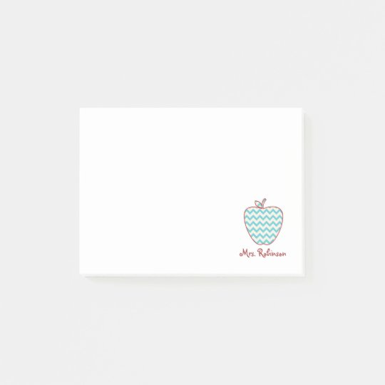 Aqua Chevron Apple Teacher Post-It Notes